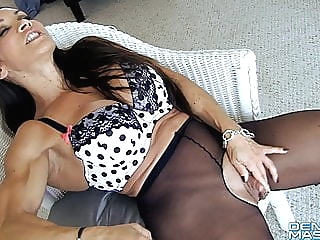 Open Sheer Tights Show Big Clit and Labia fingering top rated milf video