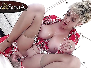 Lady Sonia gets off with her new vibrator blonde mature pornstar video