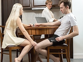 SIS.PORN. Cutie during dinner becomes in mood for sex with stepbro blonde blowjob hd video