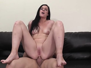 Tattooed brunette, Hailey went to a porn video casting and got fucked the way she always wanted anal brunette casting video