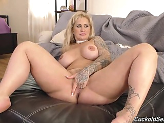 Horny blonde milf with a big, round ass is cuckolding her husband with two black guys anal big ass big tits video