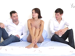 Two guys are turning Ariel's fantasies into reality, while her boyfriend is out of town brunette hd straight video