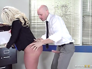 Big Tits at Work: On The Cock While On The Clock. Julie Cash, Johnny Sins big butt blonde blowjob video