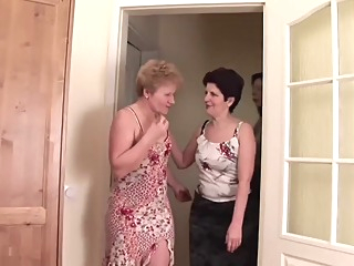 Three granny and young girl lesbian   video