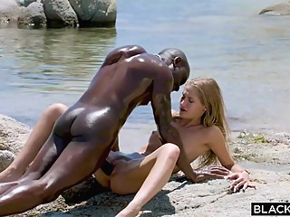 Slender blonde teen with tiny tits has hooked up with a black man just to fuck him hd blonde interracial video