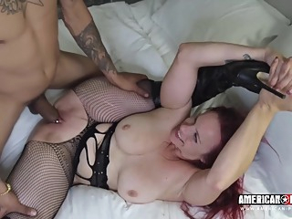 Bella Rossi is offering her fuckholes to a group of horny guys, because she wants a gangbang big tits hd interracial video