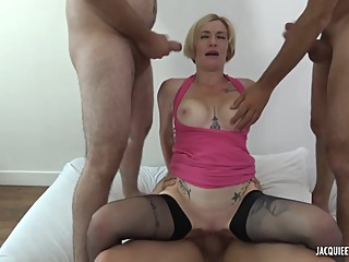 Short haired, French blonde, Clarisse is satisfying three guys at the same time, in her bedroom big tits anal hd video