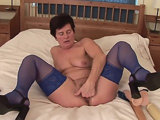 Horny granny, Ibolya took off her animal printed dress and started drilling her hairy pussy big tits fetish hd video