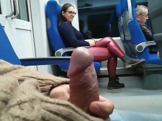 Stranger Jerked and suck me in the train public   video